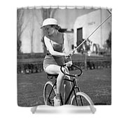 Actress Plays Bike Polo Shower Curtain