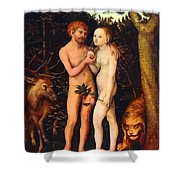 Adam And Eve - Oil On Canvas Shower Curtain