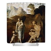 Adam And Eve With Cain And Abel Shower Curtain