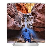 Adam Jewell At Capitol Reef Shower And Laundromat Shower Curtain by Adam Jewell