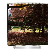 Adirondack Chairs-3 - Davidson College Shower Curtain
