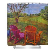 Adirondack Chairs In Leiper's Fork Shower Curtain