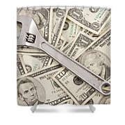 Adjustable Wrench On Pile Of Money Shower Curtain