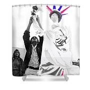 Adjusting  Torch Statue Of Liberty Statue July 4th Parade Tucson Arizona  Shower Curtain