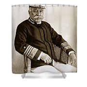 Admiral Of The Navy George Dewey Seen In 1899 On The Uss Olympia Shower Curtain