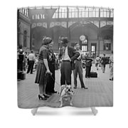 Admiring The Dog At Penn Station 1942 Shower Curtain