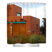 Adobe House And Poppies Shower Curtain