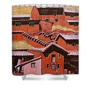 Adobe Village - Peru Impression II Shower Curtain