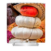 Adorable Cowboy Pumpkin Figures Made From Pumpkins Shower Curtain