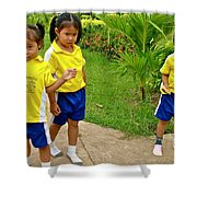 Adorable Sweethearts Welcoming Committee At Baan Konn Soong School In Sukhothai-thailand Shower Curtain