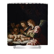 Adoration Of The Angels Shower Curtain