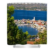 Adriatic Town Of Vinjerac Aerial View Shower Curtain