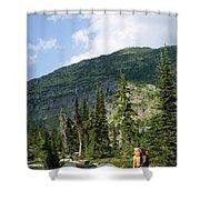 Adult Woman Hiking Through An Alpine Shower Curtain