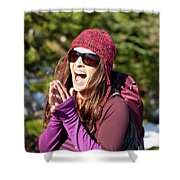 Adult Woman Laughing Out Loud While Shower Curtain