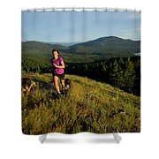 Adult Woman Trail Running Shower Curtain
