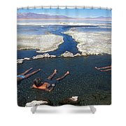 Adults Bathing In Hot Springs Shower Curtain