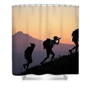 Adventure Racing Team Hiking At Sunset Shower Curtain
