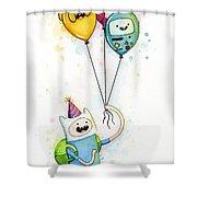 Adventure Time Finn With Birthday Balloons Jake Princess Bubblegum Bmo Shower Curtain