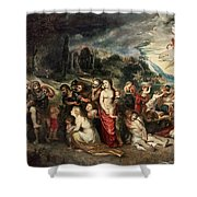 Aeneas And His Family Departing From Troy Shower Curtain