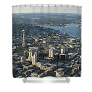 Aerial Image Of The Seattle Skyline  Shower Curtain