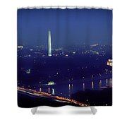 Aerial Night View Of Washington Dc Shower Curtain