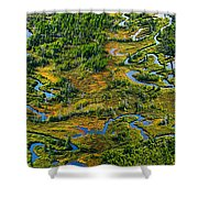 Aerial Of A Wetland, Over Northern Shower Curtain