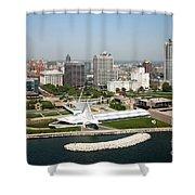 Aerial Of Milwaukee Skyline Shower Curtain