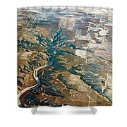 Aerial Of Rocky Mountains Over Montana State Shower Curtain