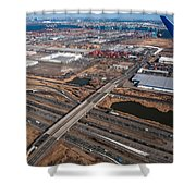 Aerial Over Newark Shower Curtain