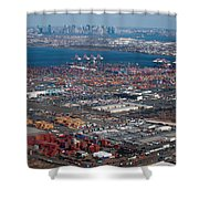Aerial Over Newark And New Yourk Shower Curtain