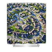 Aerial Pattern Of Residential Homes Shower Curtain
