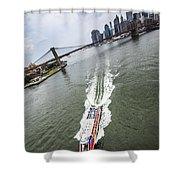 Aerial View - Red Tourist's Boat At East River Shower Curtain