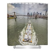 Aerial View - The Barge At The East River Shower Curtain