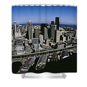 Aerial View Of A City, Seattle Shower Curtain