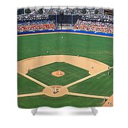 Aerial View Of A Stadium, Dodger Shower Curtain