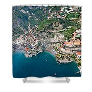 Aerial View Of A Town, Atrani, Amalfi Shower Curtain
