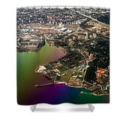 Aerial View Of Bay. Rainbow Earth Shower Curtain by Jenny Rainbow