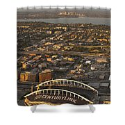 Aerial View Of Bellevue Skyline And Century Link  Shower Curtain