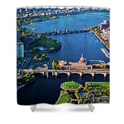 Aerial View Of Bridges Crossing Charles Shower Curtain