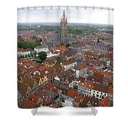 Aerial View Of Bruges Belgium Shower Curtain