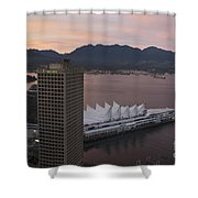 Aerial View Of Canada Place At Sunse Shower Curtain