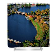 Aerial View Of Charles River With Views Shower Curtain