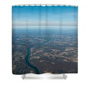 Aerial View Of Earth In Usa Shower Curtain