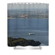 Aerial View Of Ferry Boats On Puget Sound Leaving Bainbridge Isl Shower Curtain