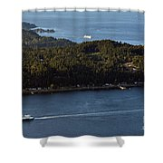 Aerial View Of Ferry Boats On Puget Sound One Leaving Bainbridge Shower Curtain
