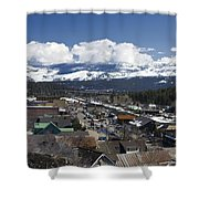 Aerial View Of Historic Downtown Truckee California Shower Curtain