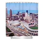 Aerial View Of Jacobs Field, Cleveland Shower Curtain