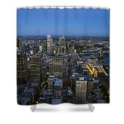 Aerial View Of Melbourne At Night Shower Curtain
