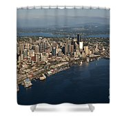 Aerial View Of Seattle Skyline With Elliott Bay And Ferry Boat Shower Curtain