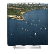 Aerial View Of Seattle Skyline With Sailboat Race On Puget Sound Shower Curtain